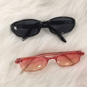 2 Pairs of Deziner Brand Sunglasses with pouches